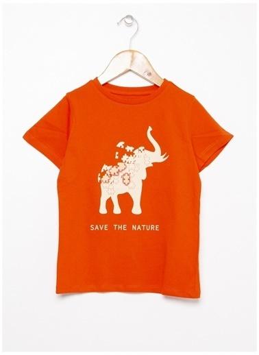Limon Company Limon Turuncu Bisiklet Yaka Görsel Baskı Erkek Çocuk T-Shirt Oranj
